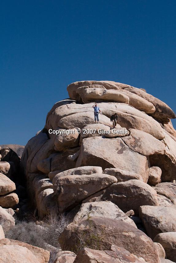 Men on rocks in Joshua Tree National Park