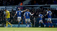 Ipswich Town's Cole Skuse and Kayden Jackson celebrates their side's first goal  scored by Gwion Edwards<br /> <br /> Photographer Hannah Fountain/CameraSport<br /> <br /> The EFL Sky Bet Championship - Ipswich Town v Birmingham City - Saturday 13th April 2019 - Portman Road - Ipswich<br /> <br /> World Copyright © 2019 CameraSport. All rights reserved. 43 Linden Ave. Countesthorpe. Leicester. England. LE8 5PG - Tel: +44 (0) 116 277 4147 - admin@camerasport.com - www.camerasport.com