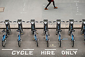 Docking station for the Barclays Cycle Hire scheme, London Wall, City of London.