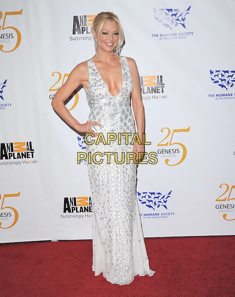 CHARLOTTE ROSS .at The Humane Society of The United States celebration of The 25th Anniversary Genesis Awards in Beverly Hills, California, USA, .March 19th 2011..full length hand on hip long maxi dress  silver white low cut cleavage                                  .CAP/RKE/DVS.©DVS/RockinExposures/Capital Pictures.