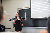 "Anya Weis '17 presents ""Disintegration of Subjectivity: A Close Reading of Euripides' Medea""<br /> Occidental College's Undergraduate Research Center hosts their annual Summer Research Conference on Aug. 4, 2016. Student researchers presented their work as either oral or poster presentations at the final conference. The program lasts 10 weeks and involves independent research in all departments.<br /> (Photo by Marc Campos, Occidental College Photographer)"