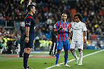 Real Madrid´s Marcelo Vieira (R) and Levante´s El Zhar during La Liga match at Santiago Bernabeu stadium in Madrid, Spain. March 15, 2015. (ALTERPHOTOS/Victor Blanco)