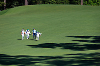 Charl Schwartzel (RSA) and Matt Kucher (USA) on the 2nd fairway during Wednesdays preview at the The Masters , Augusta National, Augusta, Georgia, USA. 10/04/2019.<br /> Picture Fran Caffrey / Golffile.ie<br /> <br /> All photo usage must carry mandatory copyright credit (&copy; Golffile | Fran Caffrey)