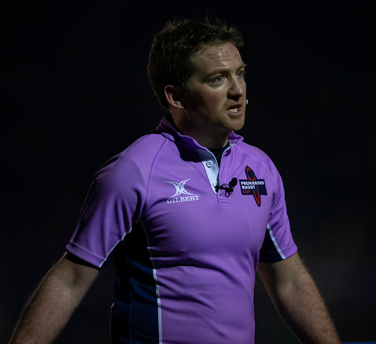 Referee JP Doyle<br /> <br /> Photographer Bob Bradford/CameraSport<br /> <br /> Gallagher Premiership - Bath Rugby v Gloucester Rugby - Monday 4th February 2019 - The Recreation Ground - Bath<br /> <br /> World Copyright © 2019 CameraSport. All rights reserved. 43 Linden Ave. Countesthorpe. Leicester. England. LE8 5PG - Tel: +44 (0) 116 277 4147 - admin@camerasport.com - www.camerasport.com