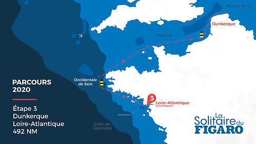 Stage 3 is a challenging 504 miles leg from Dunkirk in the very northeast of France, round the Brittany peninsula to Saint Nazaire at the entrance to the Loire estuary