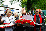 LONDON, ENGLAND, 22 May ,2014.  Julia Stevenson reads a message from Lee Rigby's mother to Bikers that gathered to mark the first anniversary of the murder of Fusilier Lee Rigby near his Woolwich barracks.