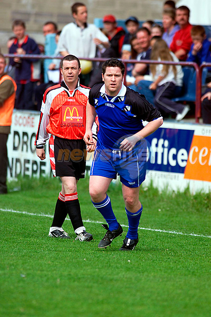 Fair City,s Maclean Burke (Damien) and Alan Kelly Brother of Garry Kelly playing United Park Drogheda ...Pic Newsfile