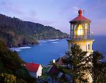 Lane County, OR      <br /> Heceta Head lighthouse at dusk on the central Oregon coast