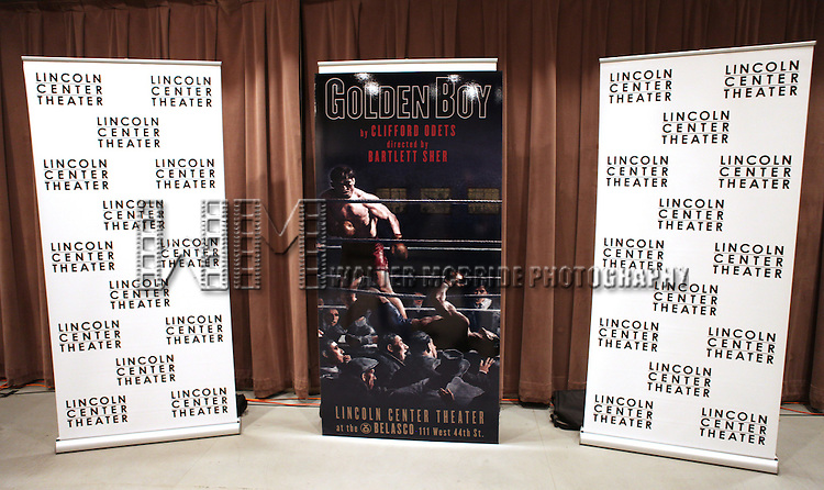 Poster at the  the Meet & Greet for the Lincoln Center Theater's 75th Anniversary Production of 'Golden Boy' at their Rehearsal Studios on 10/25/2012 in New York.