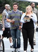 NEW YORK, NY July 12, 2017   Adam Devine,  Rebel Wilson  shooting on location for Newline Cinema film  Isn't It Romantic in Washington Square Park in  New York July 12, 2017. Credit:RW/MediaPunch