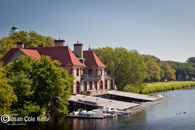 Weld Boathouse on the Charles River, Harvard University, Cambridge, Greater Boston, MA