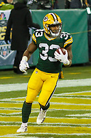 Green Bay Packers running back Aaron Jones (33) during a National Football League game against the Minnesota Vikings on December 23rd, 2017 at Lambeau Field in Green Bay, Wisconsin. Minnesota defeated Green Bay 16-0. (Brad Krause/Krause Sports Photography)
