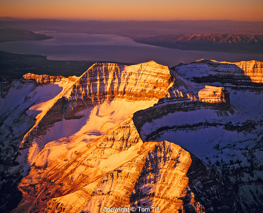 Aerial view of Timpanogos Range. Utah Sunrise light on Mt. Timpanogos  Uinta Natonal Forest   Utah Lake beyond