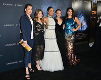Tuva Novotny, Jennifer Jason Leigh, Tessa Thompson, Natalie Portman &amp; Gina Rodriguez at the premiere for &quot;Annihilation&quot; at the Regency Village Theatre, Los Angeles, USA 13 Feb. 2018<br /> Picture: Paul Smith/Featureflash/SilverHub 0208 004 5359 sales@silverhubmedia.com