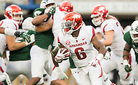 NWA Democrat-Gazette/BEN GOFF @NWABENGOFF<br /> T.J. Hammonds, Arkansas running back, carries in the 2nd quarter vs Colorado State Saturday, Sept. 8, 2018, at Canvas Stadium in Fort Collins, Colo.