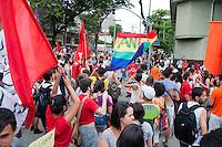 SÃO PAULO-SP-01,11,2014-ATO PÚBLICO -ALCKMIN-CADÊ A ÁGUA?- Manifestantes de vários coletivos (entre ele Juntos;Território Livre e etcs)durante manifestação Alckmin,Cadê a àgua?<br /> Local:Concentração no Largo da Batata à SABESP na rua Sumidouro,região oeste da cidade de São Paulo,na tarde dessa sábado,01(Foto/Kevin David/Brazil Photo Press)
