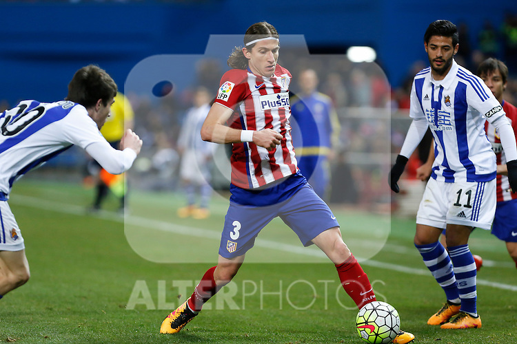 Atletico de Madrid´s Filipe Luis and Real Sociedad´s Carlos Vela during 2015-16 La Liga match between Atletico de Madrid and Real Sociedad at Vicente Calderon stadium in Madrid, Spain. March 01, 2016. (ALTERPHOTOS/Victor Blanco)