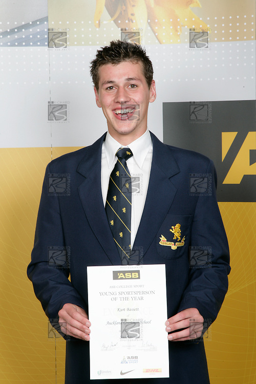 Boys Swimming winner Kurt Bassett. ASB College Sport Young Sportperson of the Year Awards 2007 held at Eden Park on November 15th, 2007.