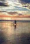 Bicycle rider on beach at Santa Monica, California