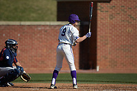 Jordan Sergent (9) of the High Point Panthers at bat against the NJIT Highlanders at Williard Stadium on February 19, 2017 in High Point, North Carolina. The Panthers defeated the Highlanders 6-5. (Brian Westerholt/Four Seam Images)