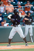 Central Arkansas Bears outfielder Jonathan Davis #3 at bat during the NCAA baseball game against the Texas Longhorns on April 24, 2012 at the UFCU Disch-Falk Field in Austin, Texas. The Longhorns beat the Bears 4-2. (Andrew Woolley / Four Seam Images).