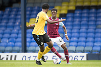 Ademipo Odubeko, West Ham U21's cuts inside Miles Mitchell-Nelson, Southend United, during Southend United vs West Ham United Under-21, EFL Trophy Football at Roots Hall on 8th September 2020