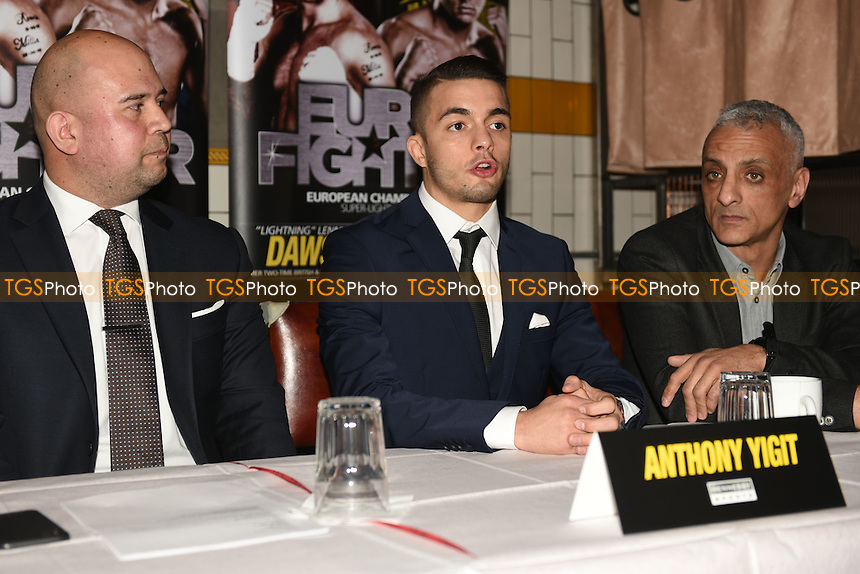 Boxer Anthony Yigit (C) speaks during a Hennessy Sports Press Conference at the Sports Bar & Grill, Marylebone on 9th February 2017