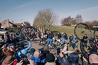 peloton at the end of the Haaghoek<br /> <br /> Omloop Het Nieuwsblad 2018<br /> Gent &rsaquo; Meerbeke: 196km (BELGIUM)