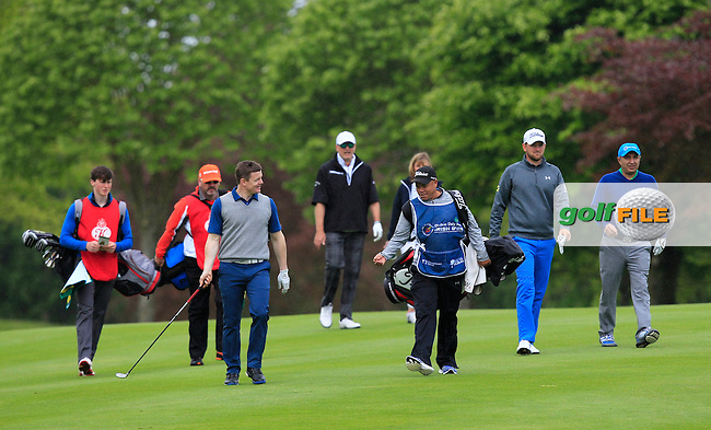 Brian O'Driscoll (AM) with Bernd Wiesberger (AUT) on the 6th fairway during Wednesday's Pro-Am round of the Dubai Duty Free Irish Open presented  by the Rory Foundation at The K Club, Straffan, Co. Kildare<br /> Picture: Golffile | Thos Caffrey<br /> <br /> All photo usage must carry mandatory copyright credit <br /> (&copy; Golffile | Thos Caffrey)