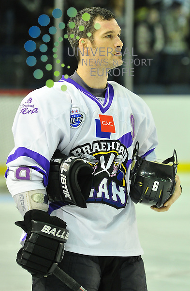 The Clans player/coach, Canadian Bruce Richardson, during the national anthem before the Braehead Clan's 7-1 victory over the Newcastle Vipers in the  Elite League ice Hockey Match at Braehead Arena, 5 February 2011 Picture: Al Goold/Universal News and Sport (Europe)