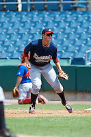 Hunter Bening #25 of Whitewater High School in Fayetteville, Georgia playing for the Atlanta Braves scout team during the East Coast Pro Showcase at Alliance Bank Stadium on August 4, 2012 in Syracuse, New York.  (Mike Janes/Four Seam Images)
