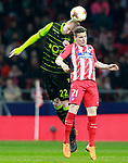 Atletico de Madrid's Kevin Gameiro (r) and Sporting Clube de Portugal's Jeremy Mathieu during Europa League Quarter-finals, 1st leg. April 5,2018. (ALTERPHOTOS/Acero)