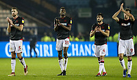 Bolton Wanderers' Mark Beevers ,Sammy Ameobi, Jason Lowe and Christian Doidge applaud the travelling fans at the end of the match <br /> <br /> Photographer Andrew Kearns/CameraSport<br /> <br /> The EFL Sky Bet Championship - Sheffield Wednesday v Bolton Wanderers - Tuesday 27th November 2018 - Hillsborough - Sheffield<br /> <br /> World Copyright © 2018 CameraSport. All rights reserved. 43 Linden Ave. Countesthorpe. Leicester. England. LE8 5PG - Tel: +44 (0) 116 277 4147 - admin@camerasport.com - www.camerasport.com