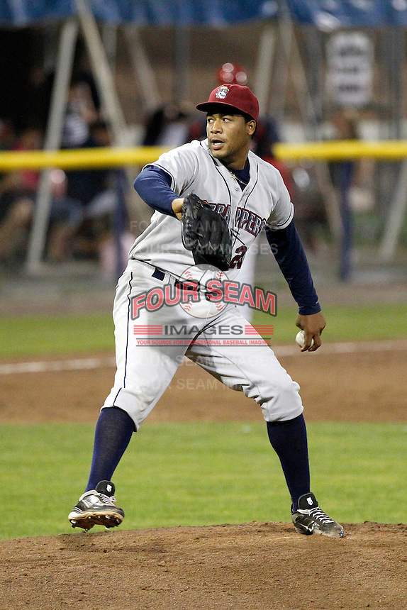 Mahoning Valley Scrappers Harold Guerrero #29 during a game against the Batavia Muckdogs at Dwyer Stadium on August 20, 2011 in Batavia, New York.  Batavia defeated Mahoning Valley 5-4.  (Mike Janes/Four Seam Images)