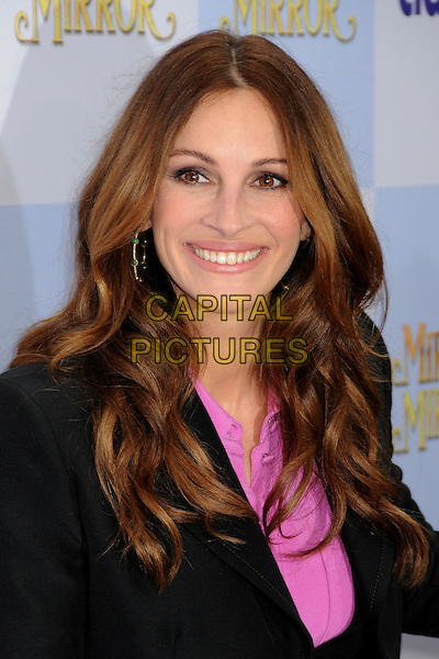 "Julia Roberts.""Mirror Mirror"" Los Angeles Premiere held at Grauman's Chinese Theatre, Los Angeles, California, USA, .17th March 2012 .portrait headshot  pink shirt smiling black jacket .CAP/ADM/BP.©Byron Purvis/AdMedia/Capital Pictures."