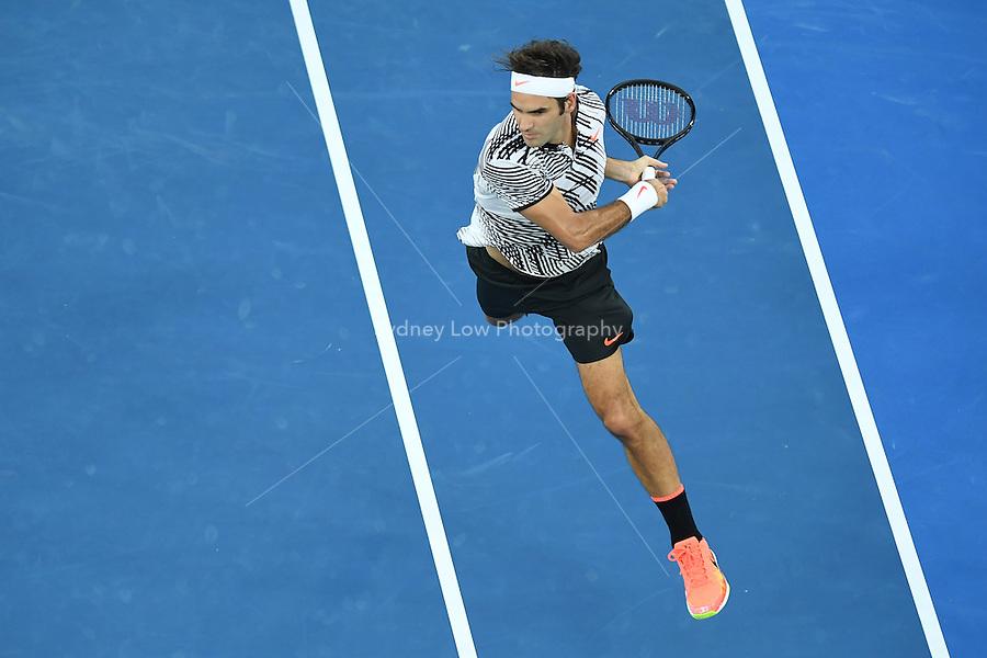 January 29, 2017: Roger Federer of Switzerland in action in the Men's Final against Rafael Nadal of Spain on day 14 of the 2017 Australian Open Grand Slam tennis tournament in Melbourne, Australia. Photo Sydney Low