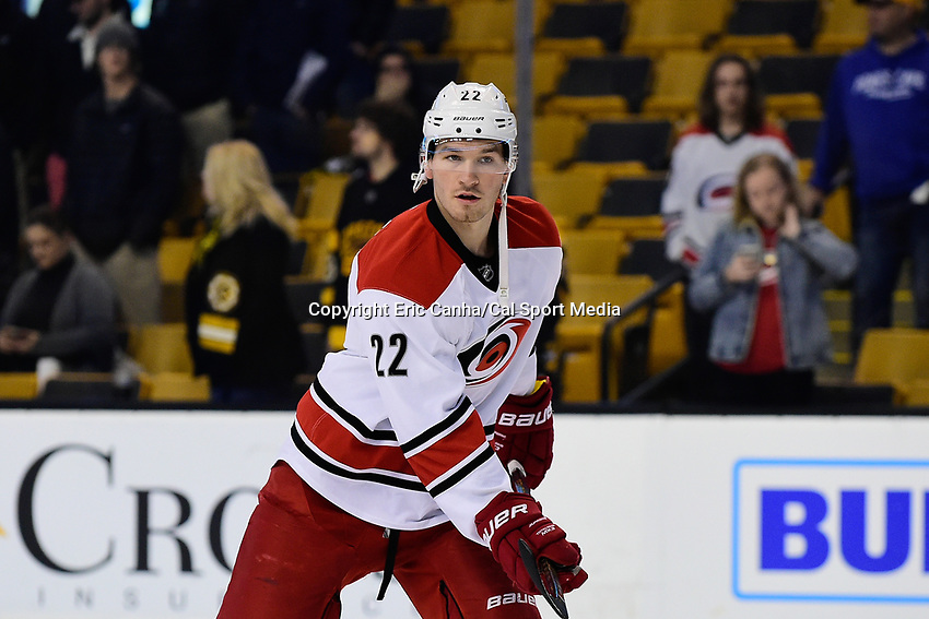 Thursday, December 1, 2016: Carolina Hurricanes defenseman Brett Pesce (22) warms up before the start of the National Hockey League game between the Carolina Hurricanes and the Boston Bruins held at TD Garden, in Boston, Mass. Boston defeats Carolina 2-1 in an overtime shoot-out. Eric Canha/CSM