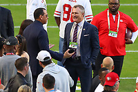 2nd February 2020, Miami Gardens, Florida, USA;  San Francisco 49ers John Lynch and Alex Rodriquez on the field prior to Super Bowl LIV on February 2, 2020 at Hard Rock Stadium in Miami Gardens