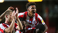 Ollie Watkins celebrates Brentford's victory at the final whistle during Brentford vs Swansea City, Sky Bet EFL Championship Play-Off Semi-Final 2nd Leg Football at Griffin Park on 29th July 2020