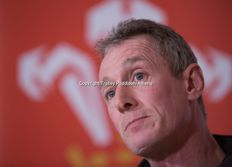 Wales rugby coach Rob Howley talks to the media at the Vale Resort Hotel 19 February 2015.