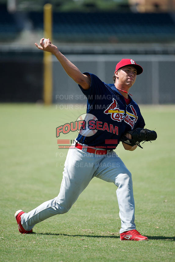GCL Cardinals Jhonny Polanco #48 during practice before a Gulf Coast League game against the GCL Astros at Osceola County Complex on July 16, 2012 in Kissimmee, Florida.  GCL Astros defeated the GCL Cardinals 5-4.  (Mike Janes/Four Seam Images)