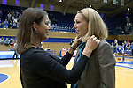 08 November 2015: Duke head coach Joanne P. McCallie (left) with Saint Leo head coach and former Duke player Missy West (right). The Duke University Blue Devils hosted the Saint Leo University Lions at Cameron Indoor Stadium in Durham, North Carolina in a 2015-16 NCAA Women's Basketball Exhibition game. Duke won the game 116-33.
