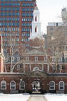 East View within Silliman Quadrangle, Residential College. Yale University, New Haven, CT. Winter view showing City Skyscapes to the East. Yale University Silliman College Quadrangle Architectural View. Silliman is the largest Residential College on the Yale University Campus occupying a full city block facing College Street to the West and Grove Street to the North. Van Shef Tower stands above the West Portico to Silliman.