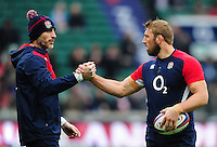 England defence coach Paul Gustard with Chris Robshaw during the pre-match warm-up. RBS Six Nations match between England and Ireland on February 27, 2016 at Twickenham Stadium in London, England. Photo by: Patrick Khachfe / Onside Images