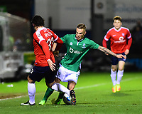 Lincoln City's Joe Ward vies for possession with York City's Sean Newton<br /> <br /> Photographer Andrew Vaughan/CameraSport<br /> <br /> The Buildbase FA Trophy Semi-Final First Leg - York City v Lincoln City - Tuesday 14th March 2017 - Bootham Crescent - York<br />  <br /> World Copyright &copy; 2017 CameraSport. All rights reserved. 43 Linden Ave. Countesthorpe. Leicester. England. LE8 5PG - Tel: +44 (0) 116 277 4147 - admin@camerasport.com - www.camerasport.com