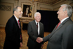 Jon Kaplan (left) chats with Bill Kurtis and Jimmy Carter at the special reception before PCC's Golden Trumpet Awards dinner. President Carter delivered the keynote speech. Bill Kurtis emceed. PCC recognized the regions best strategic communications work  done in 2013 at the Golden Trumpet Awards dinner at the Palmer House in downtown Chicago on Wednesday, June 4, 2014   [Photo by Karen Kring] Jimmy Carter met fellow citizens and delivered the keynote speech at the Publicity Club of Chicago's Golden Trumpet Awards. PCC recognized the regions best strategic communications work done in 2013 at the Golden Trumpet Awards dinner at the Palmer House in downtown Chicago on Wednesday, June 4, 2014   [Photo by Karen Kring]
