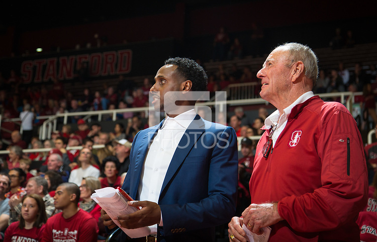 STANFORD, CA - January 26, 2019: Esayas Habtemariam, Dick Gould at Maples Pavilion. The Stanford Cardinal defeated the Colorado Buffaloes 75-62.