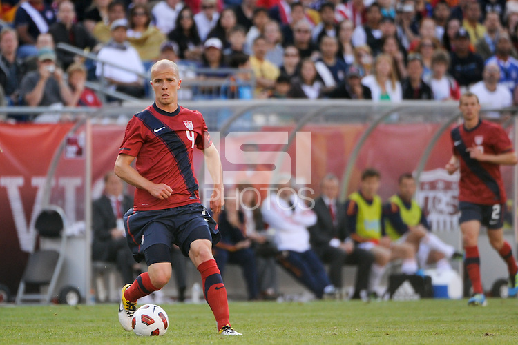 Michael Bradley (4) of the United States. The men's national team of Spain (ESP) defeated the United States (USA) 4-0 during a International friendly at Gillette Stadium in Foxborough, MA, on June 04, 2011.