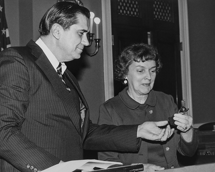 Congressional aide Hyde Murray with party member at Rayburn House Office Building. (Photo by CQ Roll Call via Getty Images)