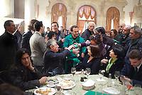 Vicenza:  Rosi Mauro, Umberto Bossi e Roberto Cota nella villa palladiana La Favorita per la presentazione del parlamento padano.